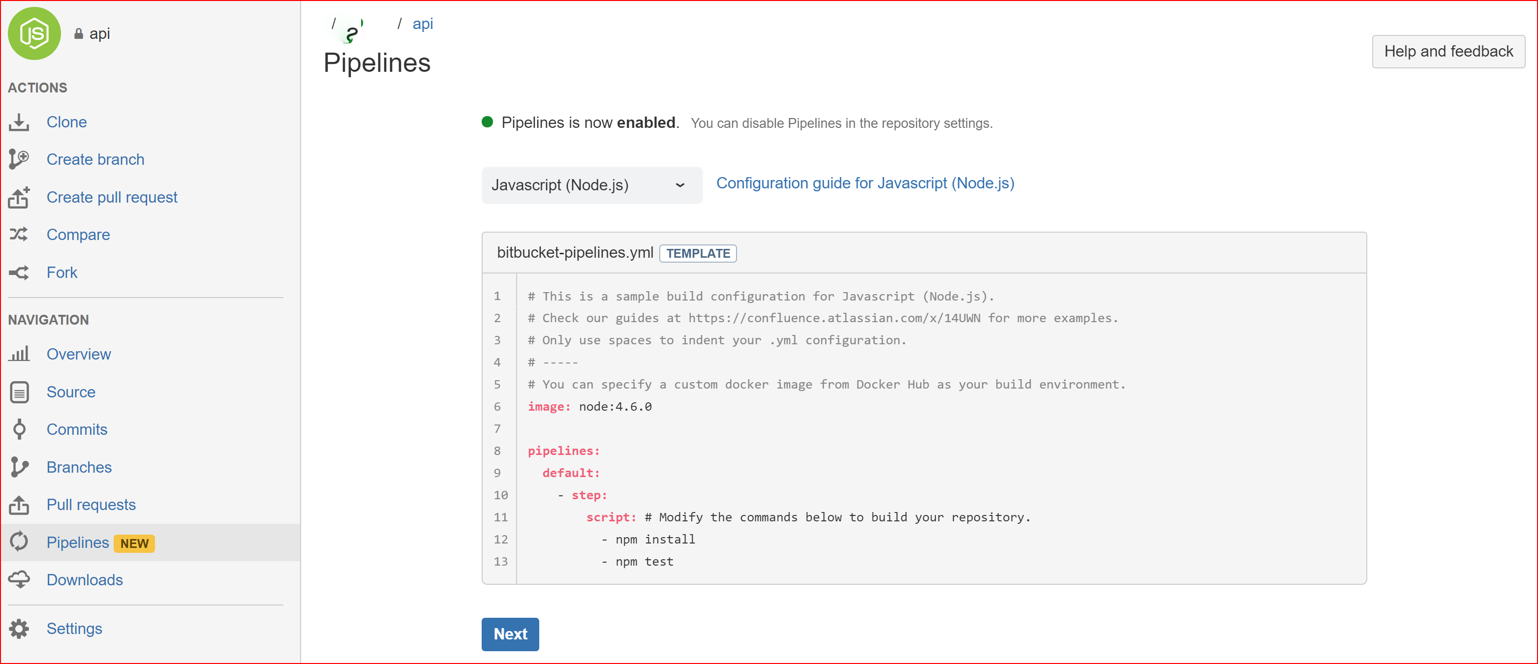 Setting up Bitbucket's Pipelines for frontend deployment on